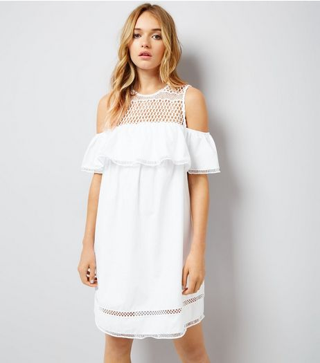 White Crochet Yoke Cold Shoulder Dress | New Look