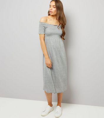 Grey Shirred Bardot Neck Midi Dress