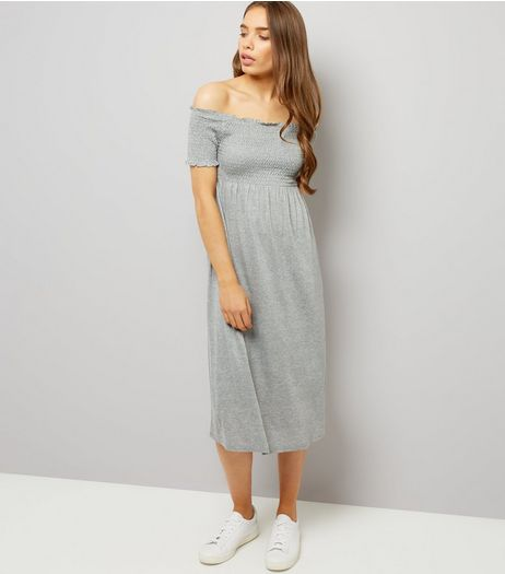 Grey Shirred Bardot Neck Midi Dress | New Look