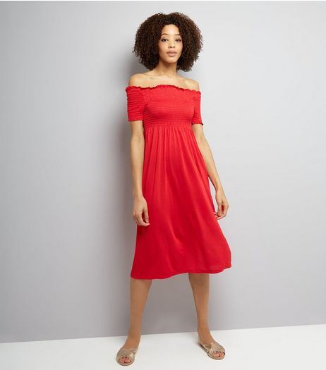 Red Shirred Bardot Neck Midi Dress  | New Look