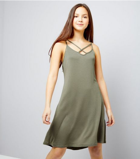 Teens Khaki Cross Front Jersey Slip Dress | New Look