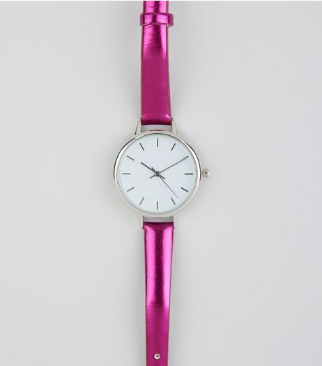 Bright Pink Metallic Skinny Strap Watch | New Look