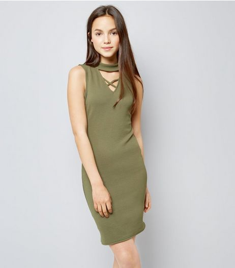 Teens Khaki Choker Neck Lattice Front Bodycon Dress | New Look