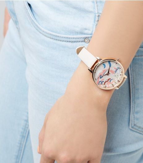 Pink Floral Landscape Dial Watch | New Look