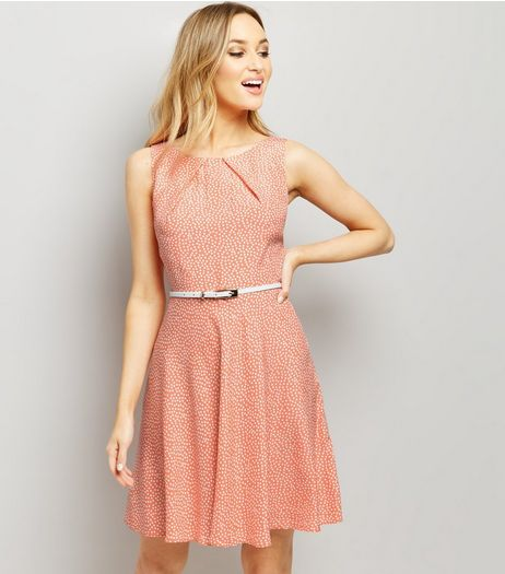 Apricot Coral Spot Print Belted Skater Dress | New Look