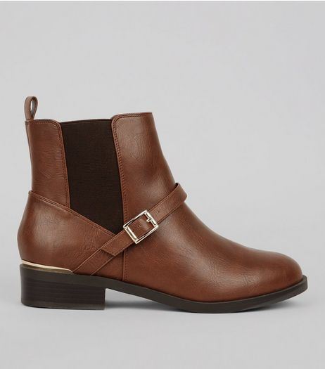 Wide Fit Brown Buckle Ankle Boots | New Look