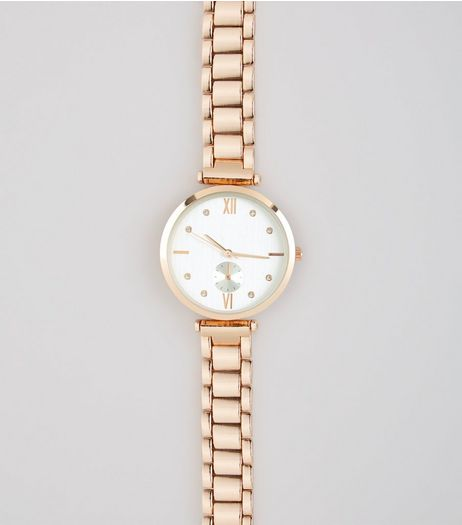 Gold Links Diamante Watch  | New Look