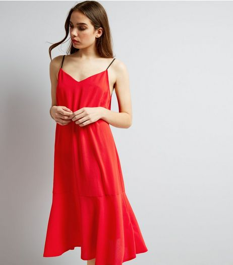 Red Peplum Hem Midi Slip Dress | New Look