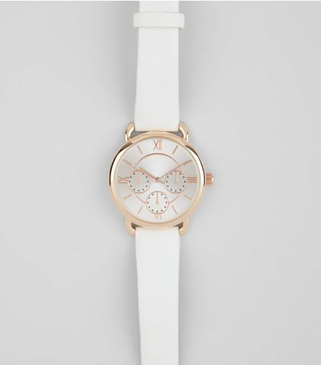 White Metallic Trim Watch  | New Look