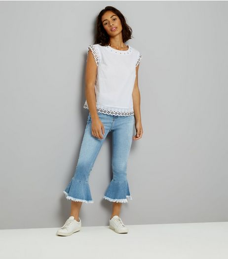 Petite Blue Frill Hem Flared Jeans | New Look