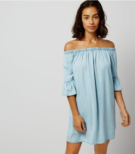 Petite Blue Bell Sleeve Bardot Neck Dress | New Look
