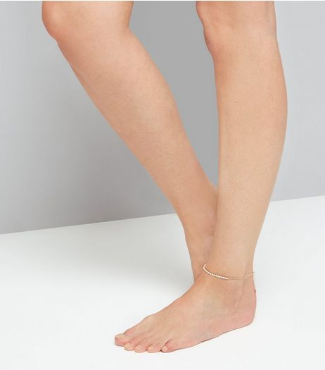 Rose Gold Crystal Anklet | New Look