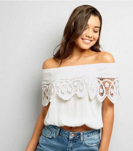 Cameo Rose White Crochet Lace Trim Bardot Neck Top  | New Look