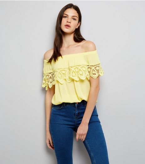 Cameo Rose Yellow Crochet Trim Bardot Neck Top | New Look