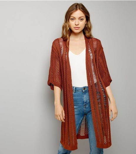 Brown Ladder Crochet Kimono | New Look
