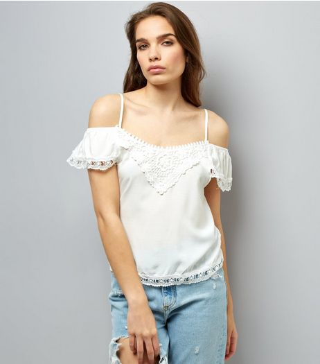 Cameo Rose White Lace Trim Cold Shoulder Top | New Look