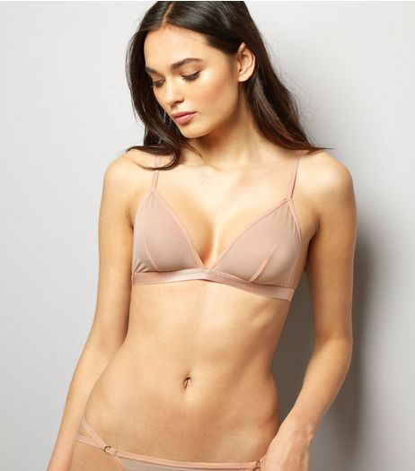 Shell Pink Mesh Bralet | New Look