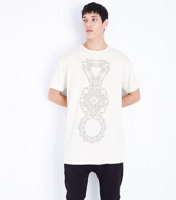 White Geo Print Longline T-Shirt