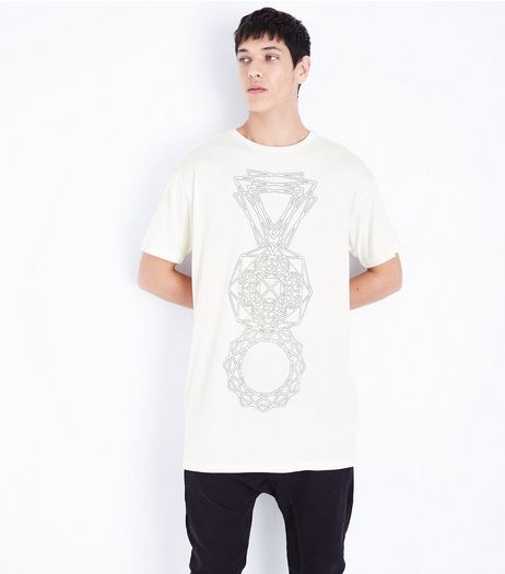 White Geo Print Longline T-Shirt | New Look