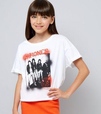 Teens White Ramones Graphic T-Shirt