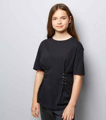 Teens Black Lace Up Oversized T-Shirt