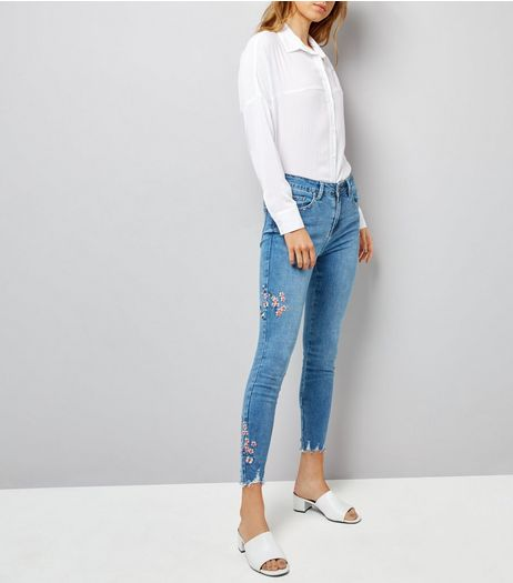 Blue Floral and Bird Embroidered Skinny Jenna Jeans | New Look