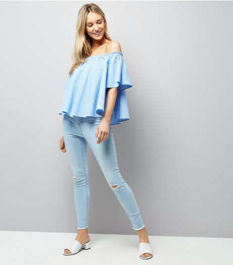 Light Blue Ripped High Waisted Skinny Jeans | New Look