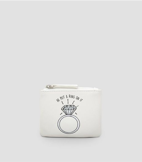 White He Put A Ring On It Zip Top Purse | New Look