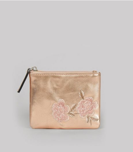 Rose Gold Metallic Floral Embroidered Zip Top Purse | New Look