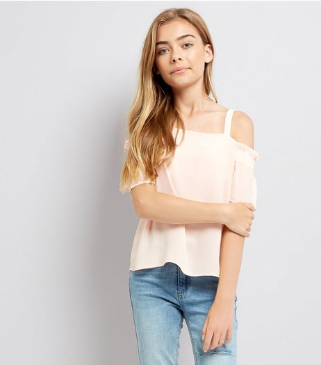 Teens Pink Shirred Sleeve Cold Shoulder Top | New Look