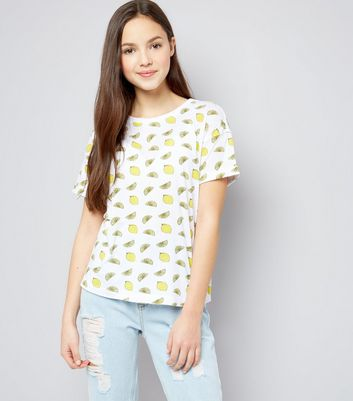 Teens White Lemon Print T-Shirt