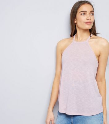 Shell Pink Lace Back High Neck Cami Top