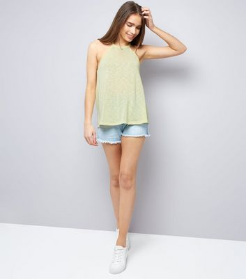 Yellow Lace Back High Neck Cami Top