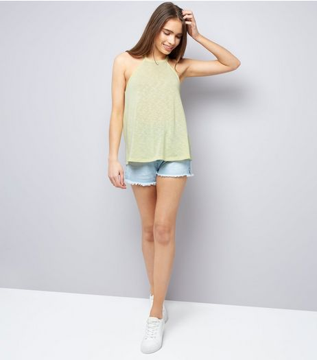 Yellow Lace Back High Neck Cami Top  | New Look