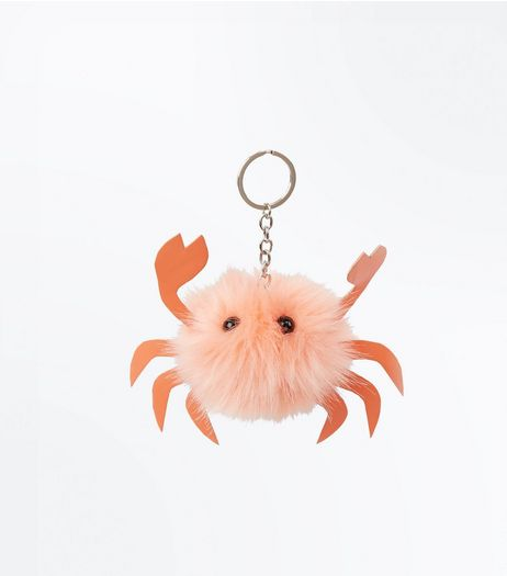 Pink Faux Fur Crab Pom Pom Keyring | New Look