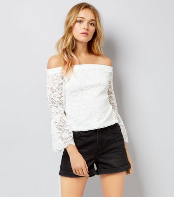 White Lace Bell Sleeve Bardot Top