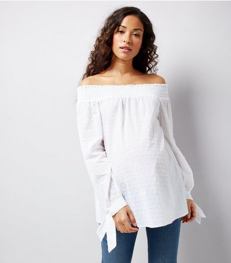 Maternity White Spot Cotton Bardot Neck Top | New Look