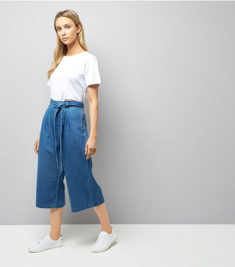 Blue Denim Wide Leg Tie Waist Culottes | New Look