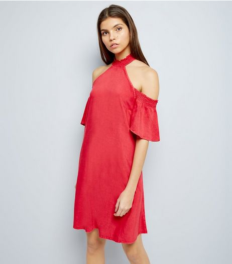 Red Cold Shoulder Tunic Dress  | New Look