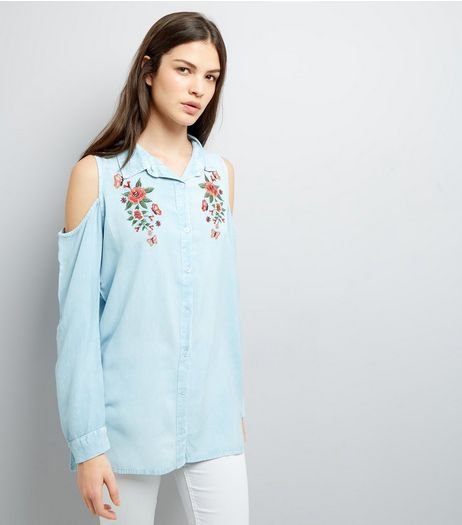 Blue Cold Shoulder Floral Embroidered Shirt | New Look