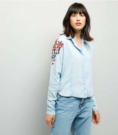 Blue Seam Trim Floral Embroidered Shirt | New Look