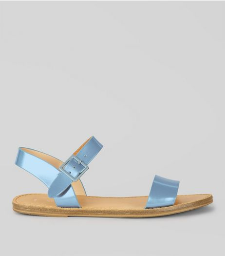 Blue Metallic Sandals | New Look