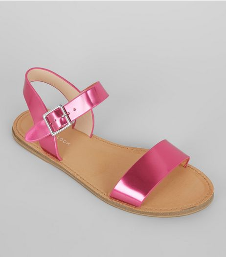 Pink Metallic Sandals | New Look
