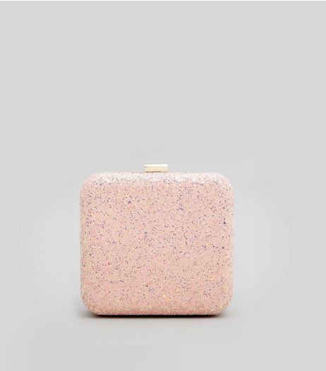 Shell Pink Glitter Box Clutch | New Look