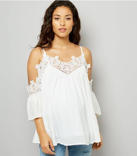 Maternity White Crochet Lace Trim Cold Shoulder Top | New Look