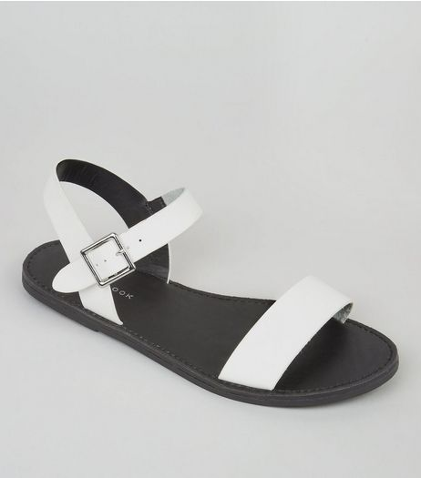 White Flat Ankle Strap Sandals | New Look