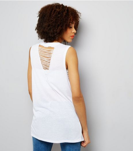 White Ladder Back Longline Vest | New Look