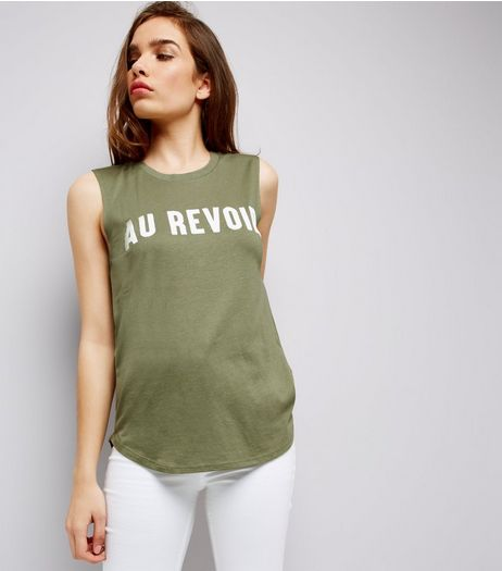 Khaki Au Revoir Printed Tank Top | New Look