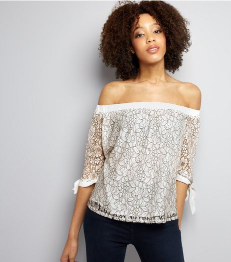 Cameo Rose White Floral Lace Bardot Neck Top  | New Look