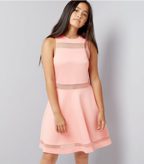 Teens Orange Mesh Insert Skater Dress | New Look